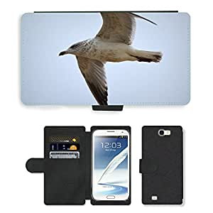 Hot Style Cell Phone Card Slot PU Leather Wallet Case // M00117156 Seagull Bird Fly Wings Animal // Samsung Galaxy Note 2 II N7100