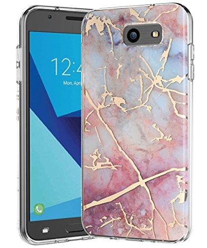 Galaxy J7 V Case,Galaxy J7 Prime Case,Galaxy J7 Perx Case,J7 Sky Pro Case,Spevert Marble Pattern Hybrid Hard Back Soft TPU Raised Edge Slim Protective Case for Samsung Galaxy J7 2017 - Colorful