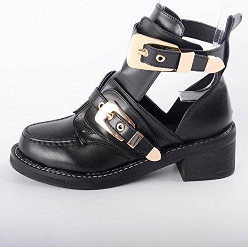 talons boucle punk 39 femmes plate de forme nouveau 36 fil boucle chaussures YWNC petites black style étanche vide ceinture hauts noir chaussures 37 simples 2018 printemps 35 38 tatYxz