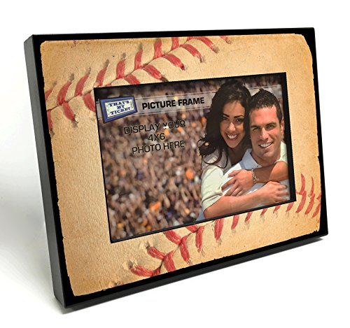 Baseball Photo Frame (That's My Ticket Baseball Stitches Wooden 4x6 inch Picture Frame)