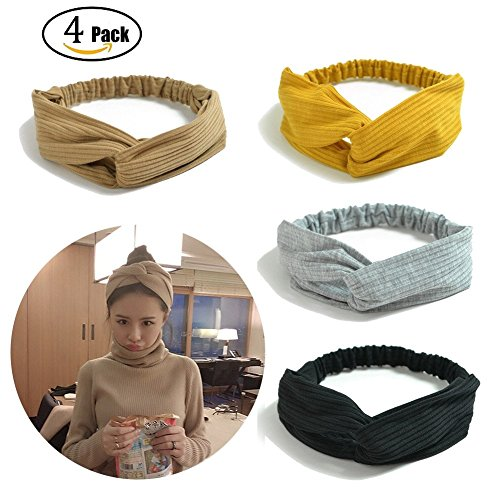 Tidalle Stretchy Headbands Crochet Cotton Hair Accessories Women Wraps Turban Knotted Scrunchies (4 pack cream yellow gray - Headband Stretchy Headband