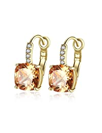 EZreal Gold Color Hoop Champagne Zircon Geometric Earrings For Women Jewelry Brincos Boucle D'oreille