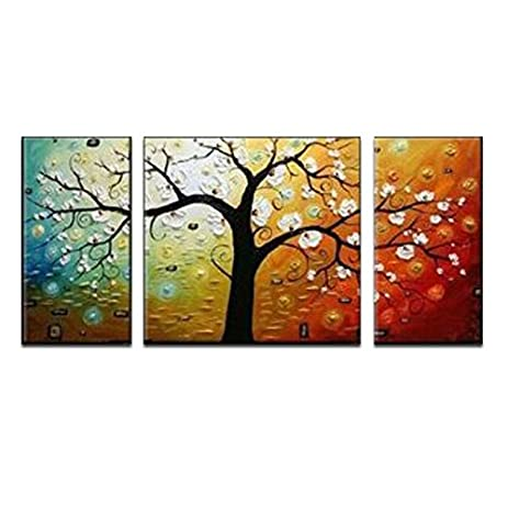 Wieco Art 3 Piece U0026quot;Lucky Treeu0026quot; Stretched And Framed Hand Painted  Modern