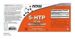 NOW Supplements, 5-HTP (5-hydroxytryptophan) 50 mg, Neurotransmitter Support*, 90 Veg Capsules