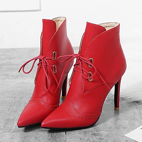 ZHZNVX Damenmode Stiefel PU Spring & amp; amp; amp; Herbst Classic Stiefel Stiletto Heel Spitz Toe Stiefelies Stiefeletten Weiß Schwarz   Rot Hochzeit   Party & Abend dd50f0