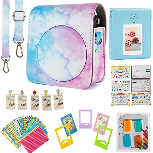 Flylther Mini 70 Instant Film Camera Accessories 7 in 1 Bundles Set for Fujifilm Instax Mini 70 Instant Film Camera (Case/Albums/Frames/Film Stickers/Filters) -Blue Pink Watercolor
