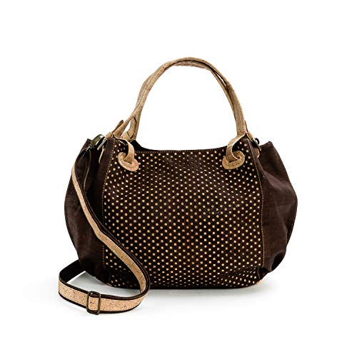 Vegan Cork Bag for woman With Pattern made in Portugal (Chocolat Brown/Beige)