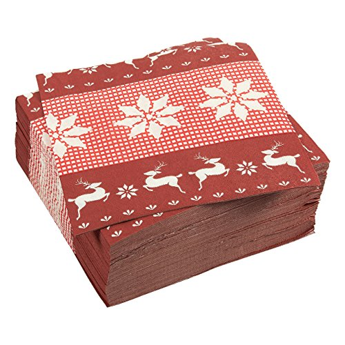 100-Pack Cocktail Napkins - Christmas Themed Disposable Paper Party Napkins with Festive Prints- Soft and Absorbent - Perfect for Luncheons, Dinners and Celebrations - 6.5 x 6.5 Inches Folded