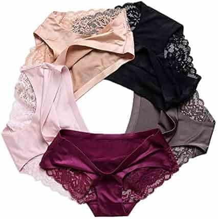 d91ad9b8b8d3 5Pcs Set Women's Lace Panties Seamless Underwear Silk for Girls Ladies  Bikini Cotton Crotch Transparent Lingerie