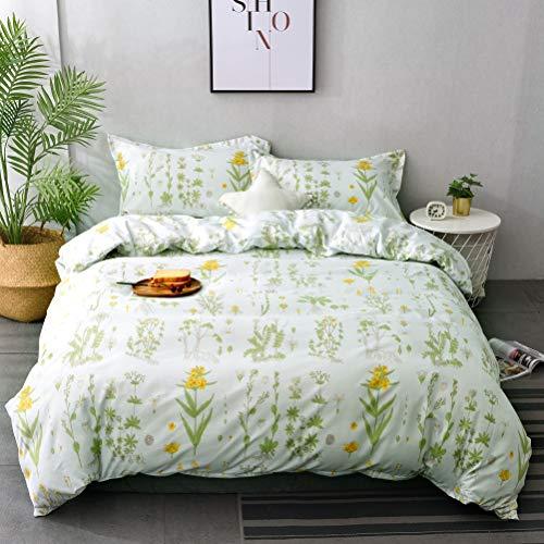 - M&Meagle Plant Duvet Cover Floral,Flower Print Pattern-Queen Size(3Pcs,1 Duvet Cover 2 Pillowcases)