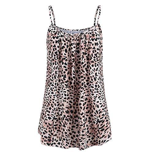 Womens Sleeveless Basic Loose Tunic Tank Top Leopard Print Caimi Tops Flowy Spaghetti Strap Camisoles Yellow ()