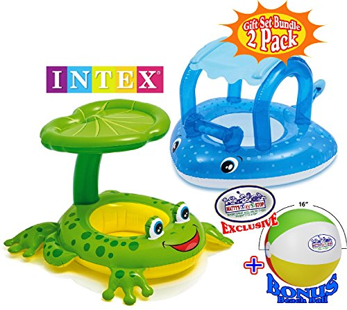 Baby Stingray - Intex Inflatable Shaded Baby Floats Froggy Friend & Stingray Gift Set Bundle with Bonus