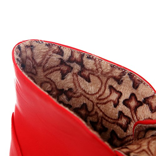 Allhqfashion Dames Lage Hakken Stevige Ronde Dichte Neus Zachte Materiaal Aantreklaarzen Met Strikjes Rood