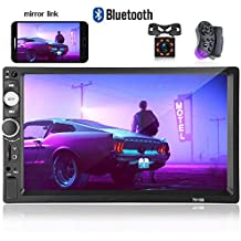 """Hikity Double Din Car Radio 7"""" Touch Screen Digital Display MP5 Player Bluetooth USB Multimedia + Car Backup Camera Night Vision Steering Wheel Control Support Android Mobile Phone Mirror Link"""