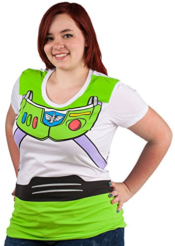 Toy Story Buzz Lightyear Costume Juniors T-shirt (Small,White) (Buzz Lightyear Tshirt)