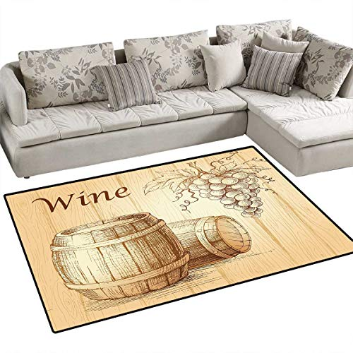Wine Anti-Static Area Rugs Wooden Barrels and Bunch of Grapes on Wood Backdrop Botany Harvest Theme Artwork Children Kids Nursery Rugs Floor Carpet 4'x6' Brown Peach