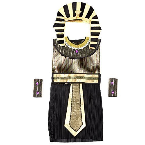 [Acecharming Egyptian Pharaoh Costume with Headpiece Belt Arm Cuffs Boys] (Women In History Costumes)