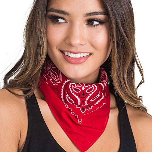 RedBrowm Women Fashion Bandana Scarf Square Head Scarf Female Bandanas Headwear (Red)