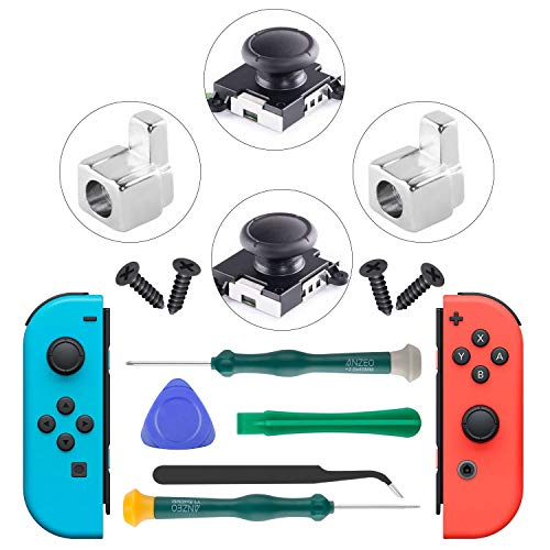 (2-Pack 3D Replacement Joystick Analog Thumb Stick and Metal Buckle, 3D Analog Replacement Joystick for Nintendo Switch Joy-Con Analog Controller - with Y1.5&+2.0 Screwdriver, Pry Tool, Suction)