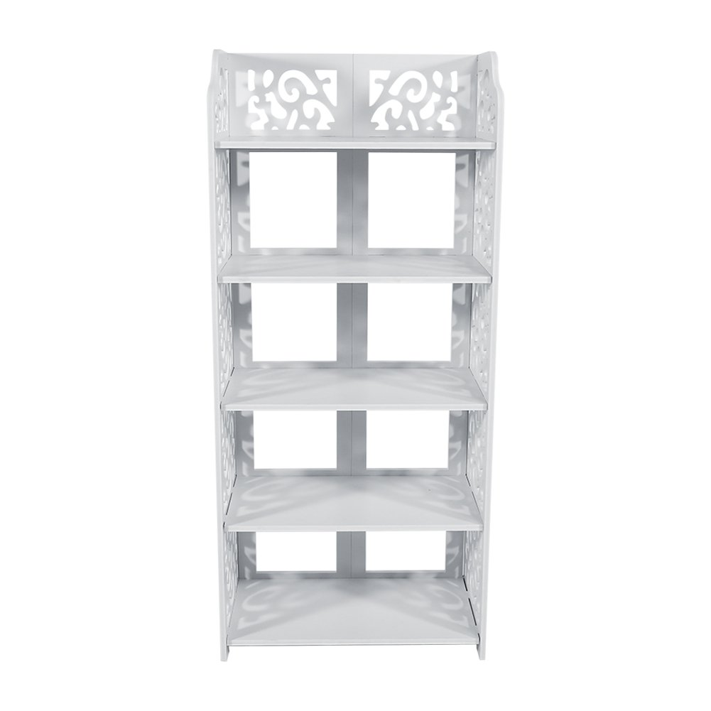 Shoe Cabinet Rack,Shoe Rack with White Chic Hollow Shoe Closet Wood Plastic Plate Baroque Storage Organizer Stand Shelf Holder Space Saving (5 Tier)