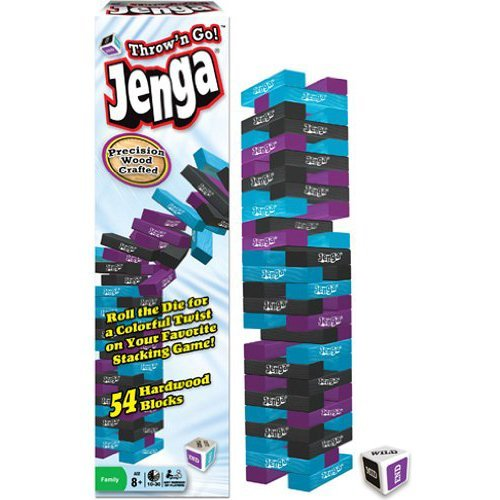 Jenga Throw-N-Go  The Toppling Tower with a Colorful Twist  Any Number of Players  Ages 8 and Up by Winning Moves Games