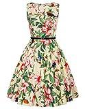 GRACE KARIN 1950s Retro Floral Bird Swing Dress Belt Size XL F-56