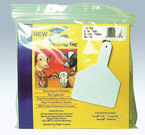 Z TAGS BLANK EAR TAGS - 25 - Blank White Ztag
