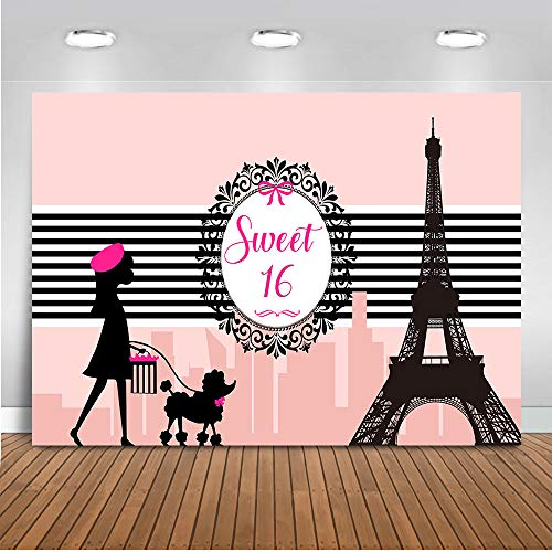 Mehofoto Paris Sweet 16 Backdrop Girl's 16th Birthday Party Photography Background 7x5ft Pink Paris Eiffel Tower 16th Birthday Party Banner Supplies Backdrops]()