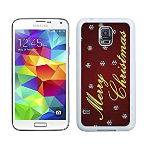 S5 Case,Dreamlike White Snowflakes With Merry Christmas Samsung Galaxy S5 Phone Case,S5 I9600 TPU Cover Case