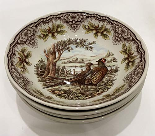 Victorian English Pottery Woodland Pheasant Thanksgiving Soup Cereal Bowls | Set of Four | 7.5