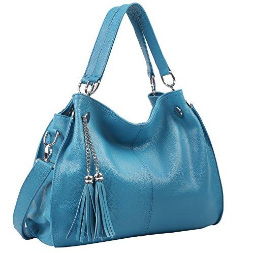 - Obosoyo Women's Handbag Genuine Leather Tote Shoulder Bags Soft Hot Light-blue