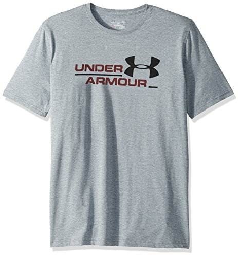 Under Armour Men's Split Branded Short Sleeve Athletic Shirt, Steel Light Heather (036)/Black, X-Large