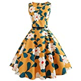 50S 60S Vintage Dresses Short Sleeve for Women Print Casual Pleated Tea Hepburn Dresses for Summer Ladies Yellow