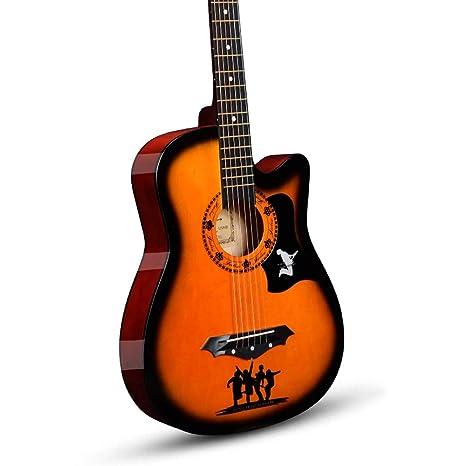 Miiliedy Mejor elección Patrón de banda 38 pulgadas Guitarra acústica Principiante Masculino Mujeres estudiantes practican guitarra