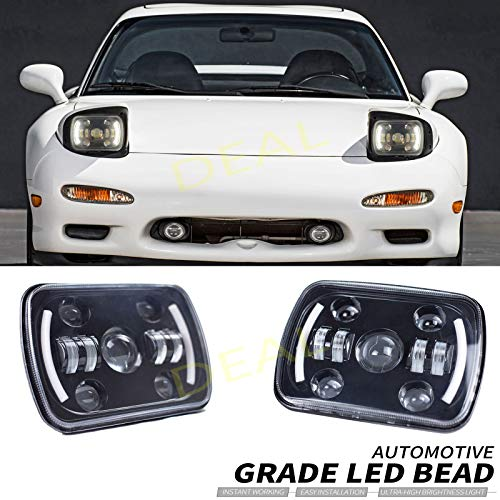 DEAL 2pcs 7x6 Inch Hi/Low Sealed Beam LED Headlights, Rectangular Projector Headlamp Conversion Kit w/DRL Fit For Any Models With H6014 H6052 H6054 H5054 H6054LL 69822 6052 6053 Sealed Beam Headlights