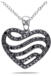 Sterling Silver Black Accent Diamond Heart Pendant (0.25 Cttw) 18''