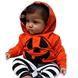 Halloween Baby Boy Girls Pumpkin Hooded Blouse +Stripe...