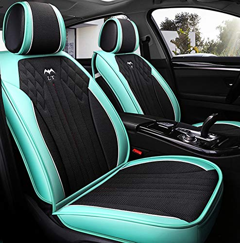 Leather Car Seat Cushions 5 Seats Full Set - Anti-Slip Suede Backing Universal Fit Covers Adjustable Bench For 99% Types Of Cars,Green: