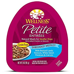 Wellness Petite Entrees Natural Grain Free Wet Small Breed Dog Food, 3-Ounce Cup (Pack Of 24) Shredded Medley Lamb & Venison 83
