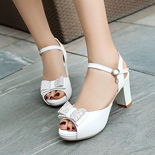 Mee Shoes Women's Sweet Bow Upper Block Heel Sandals White amDSu