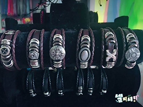 Boys and girls twist handmade imitation. Leather snap bracelet flowers retro cross skull bracelet double rope