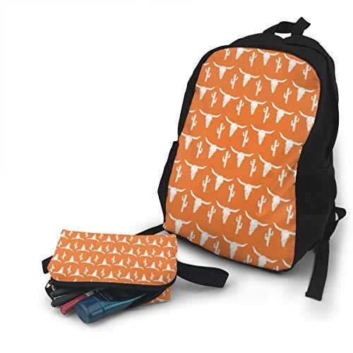 (Jiqnajn6 Longhorn Cattle Cow Texas Skull Cactus Laptop Backpack,Travel Computer Bag for Women & Men,Anti Theft Resistant College School Bookbag,Business Backpack.)