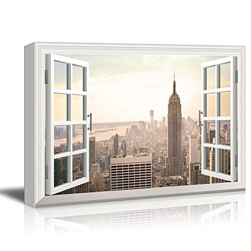 Canvas Print Wall Art - Window Frame Style Wall Decor - Bird'S-Eye View of Modern City in Evening | Giclee Print Gallery Wrap Modern Home Decor. Stretched & Ready to Hang - 24