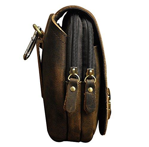 Genda 2Archer Leder Hüfttasche mit Gürtelschlaufe Flapover Gürteltasche Bauchtasche