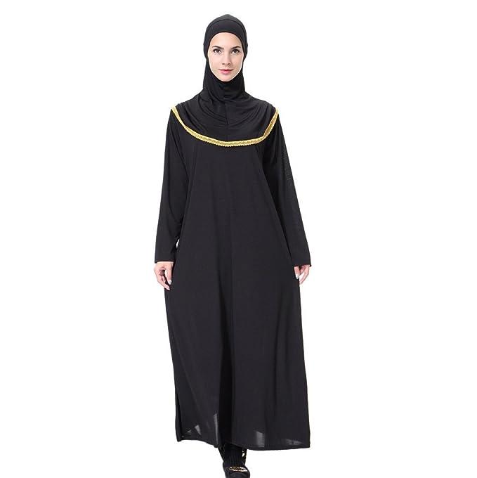 Muslimische Damen Herbst Langarm Kleid Turban Robe Tunika Maxikleid ...