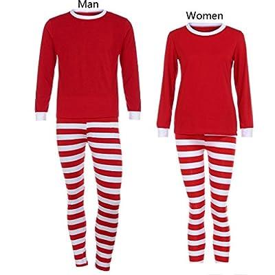 Family Clothes Set,AutumnFall Women Men Home Matching Christmas Pajamas Set Striped T-shirt Blouse +Pants