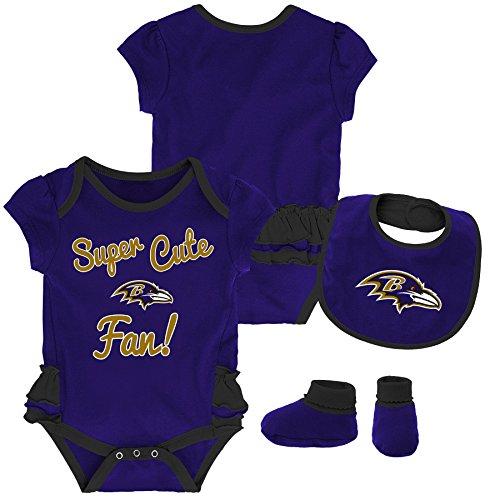 Outerstuff NFL NFL Baltimore Ravens Newborn & Infant Mini Trifecta Bodysuit, Bib, and Bootie Set Ravens Purple, 24 Months