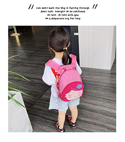 3D Animal Children School Backpack for Girls Mermaid Backpack and Animal Preschool Backpack Childrens for Toddlers (Pink-Rose Hair)