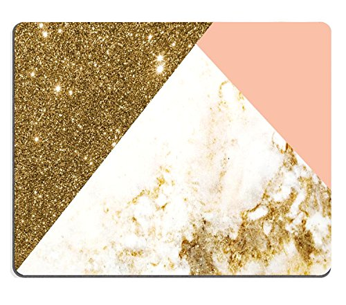 Wknoon Extended Rectangle Gaming Mouse Pad Personalized Custom Design,Pink Gold Glitter and White Marble Texture,Non-slip Thick Rubber Large Mousepad