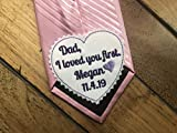 Personalized Father of the Bride tie patch, Embroidered Heart suit label for Dad, wedding gift from Bride, I loved you first, iron-on or sew on